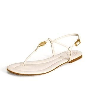 Tory Burch Emmy Sandal Tumbled Cream Leather Sz 9